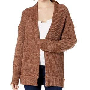 FREE PEOPLE High Hopes Open Cardigan Brown Sweater